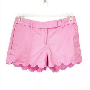 J. Crew Pink 100% Linen Scalloped Shorts Size 0